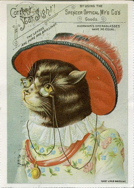 vintage pet design ad starring cats