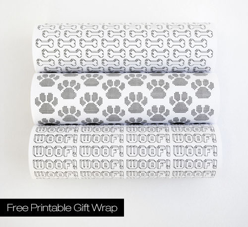 Free Dog Themed Gift Wrap Print