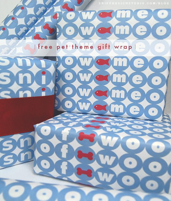 free pet design gift wrap download