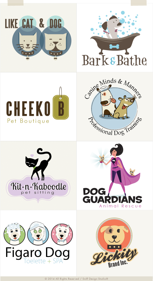pet business logo design example gallery by sniff design studio
