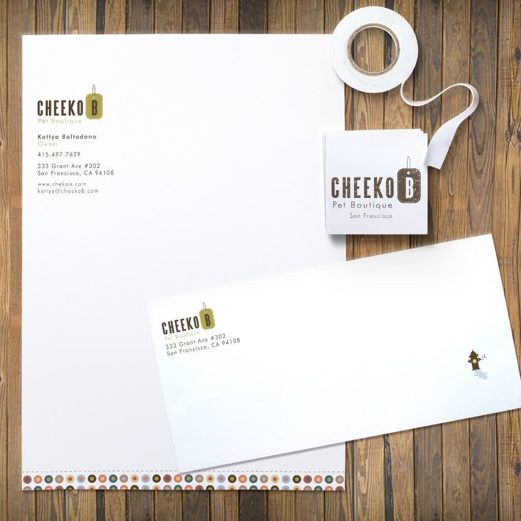 pet design stationery set for Cheeko B boutique