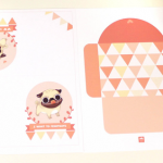pug Valentine card set free download