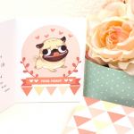 pug Valentine theme card set free download