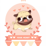 free Valentine dog card set to download