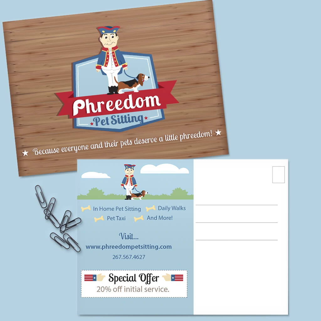 Phreedom-Pet-Sitting-Post-Card-Design