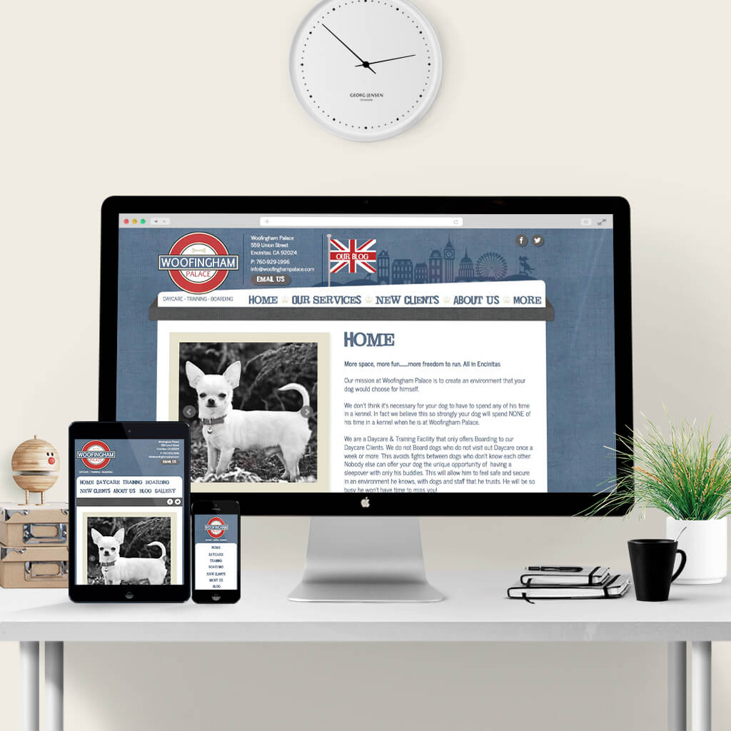pet web site design for Woofingham Palace by Sniff Design Studio