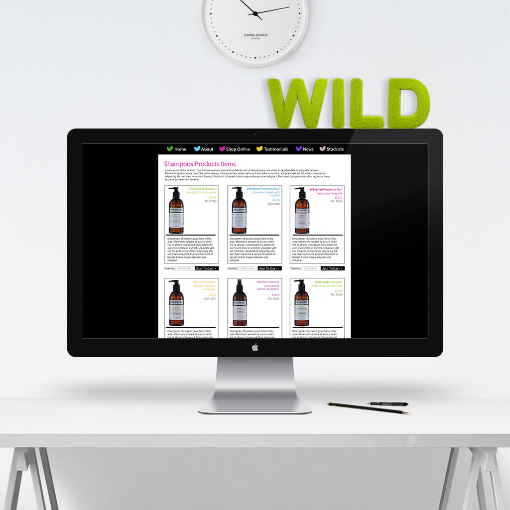 original pet business web site design for WildWash Co UK by Sniff Design Studio