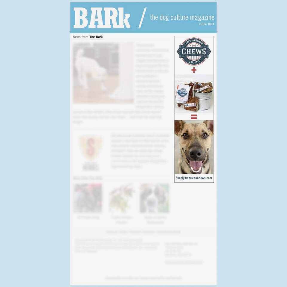 Simply American Pet Chews Ad Design for Bark Magazine