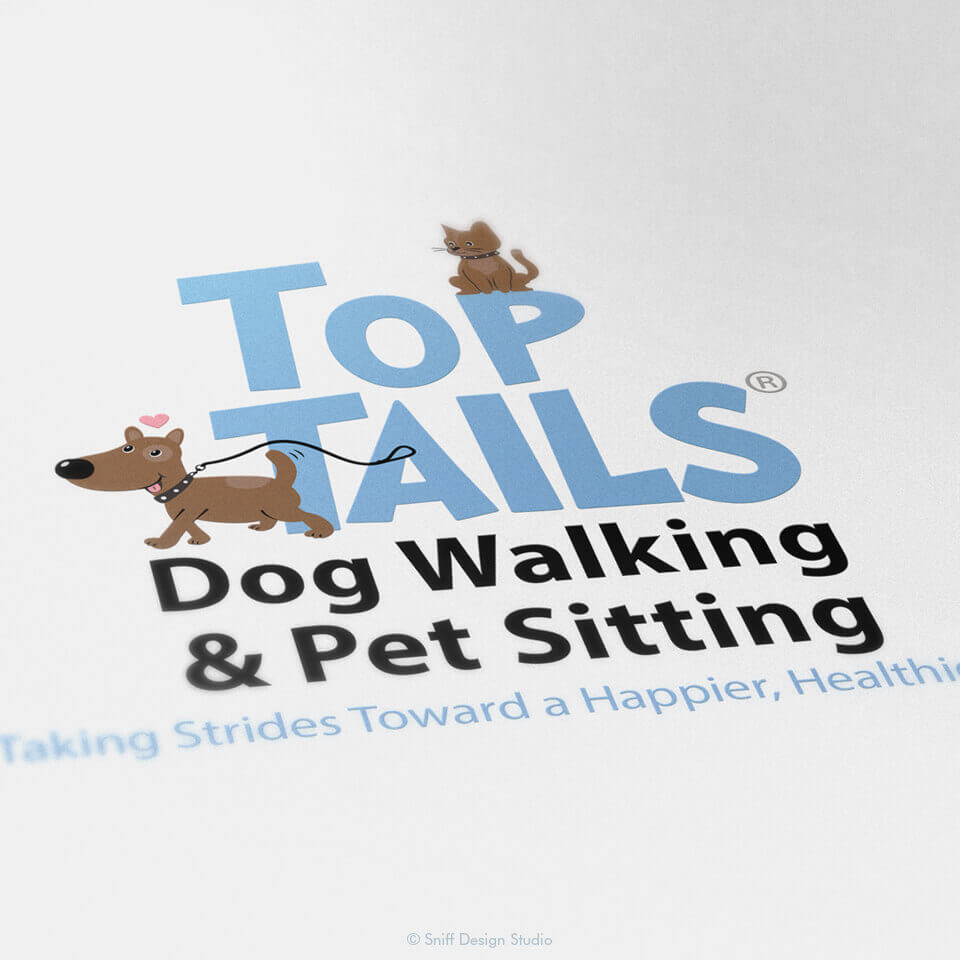 Updated pet business logo design for Top Tails Dog Walking & Pet Sitting
