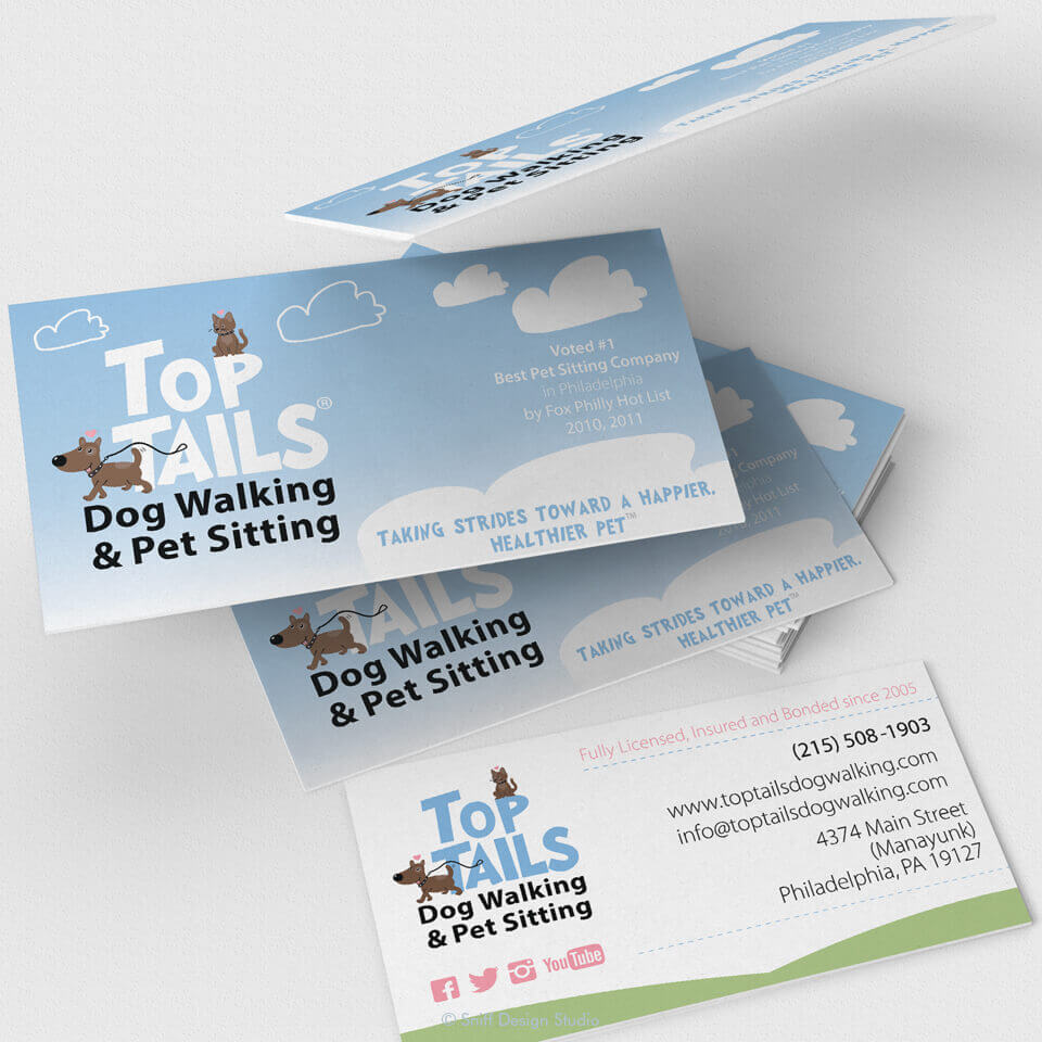 Pet business card design for Top Tails Dog Walking and Pet Sitting