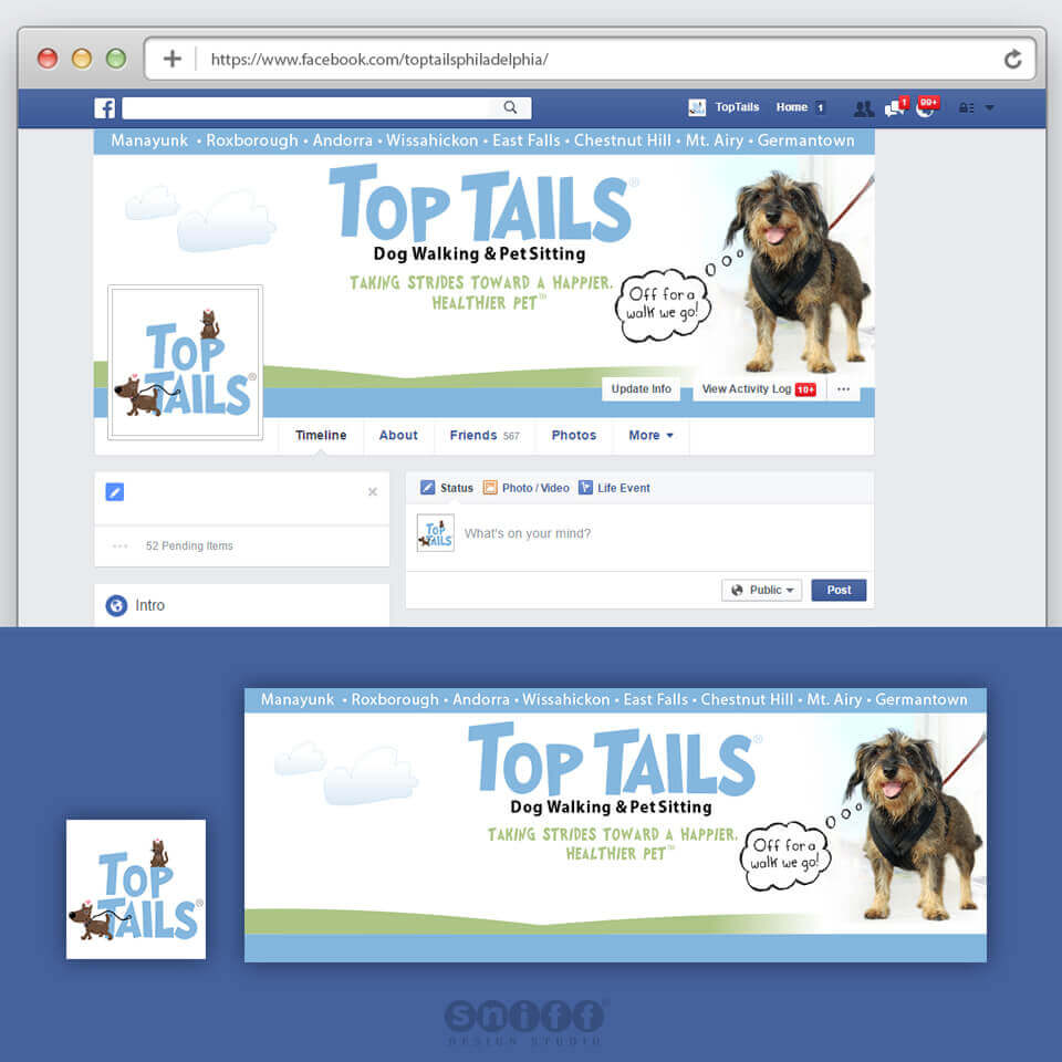 Facebook cover design for Top Tails Pet Sitting Service