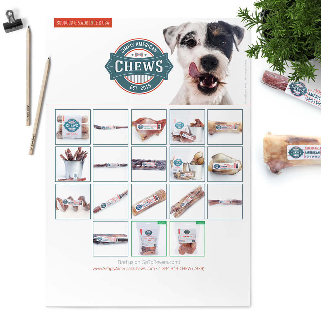 Simply American Chews Pet Treat Sell Sheet Design for Tradeshow