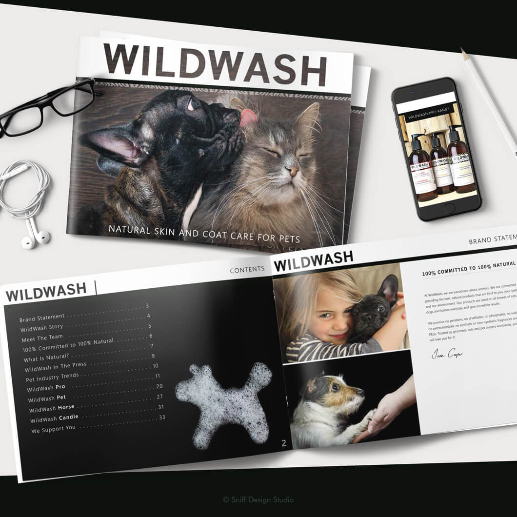 Marketing Document Design for WildWash Pet Shampoo View 1