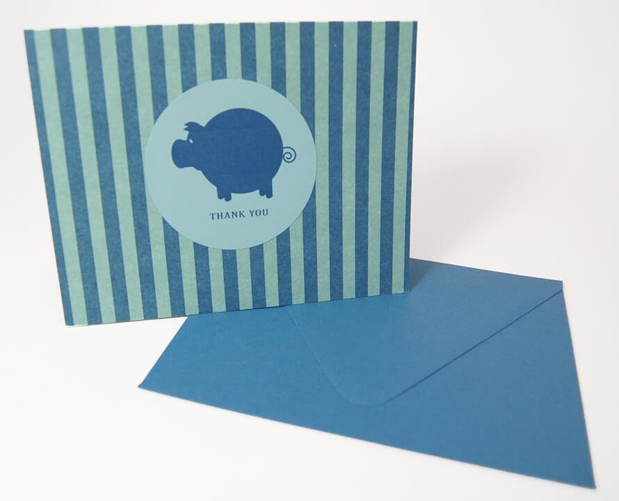 Polished-Piggy-Thank-You-Card-Set-UpcloseStanding-by-SniffDesignStudio