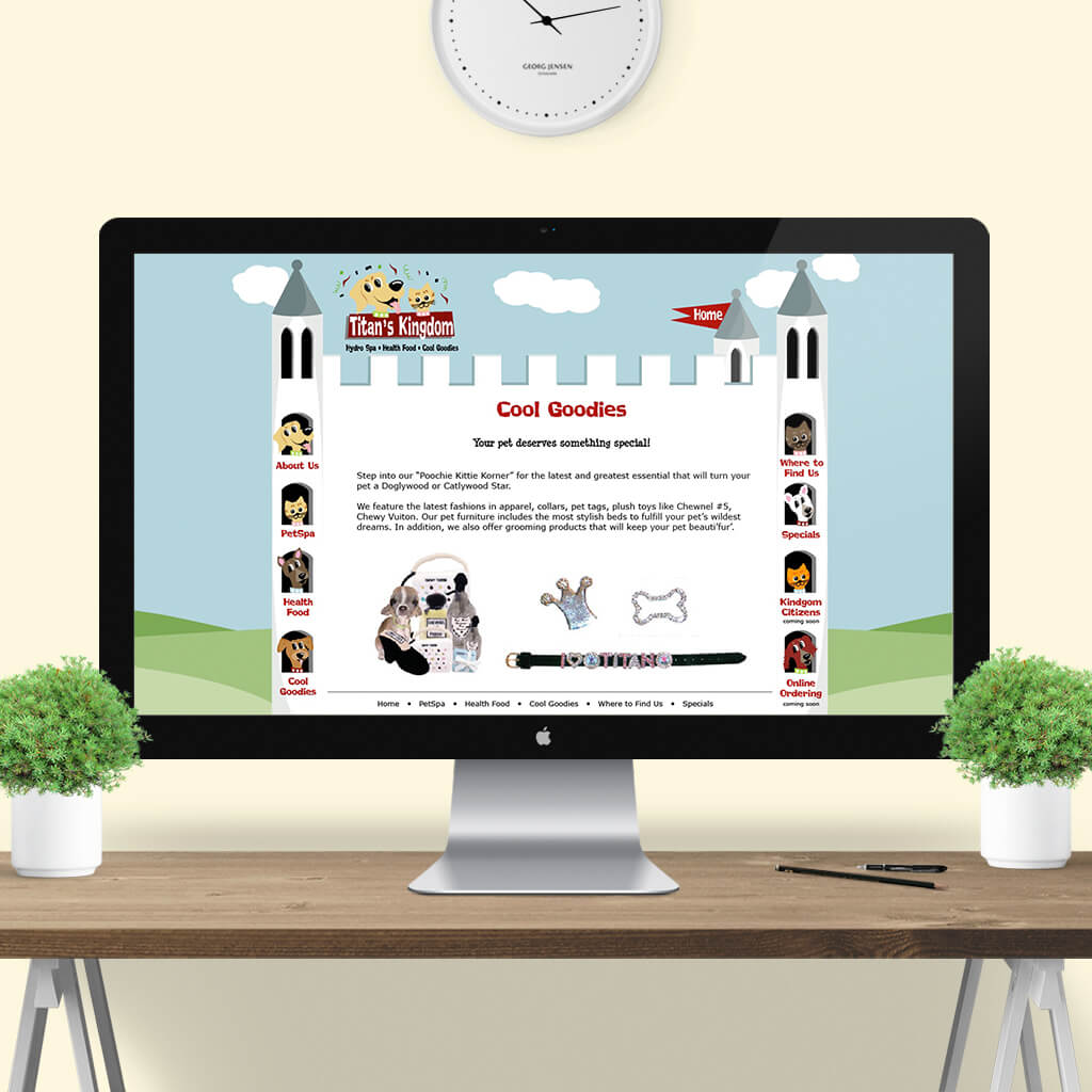 Titans Kingdom Pet Boutique - Pet Business Web Site Design Image 5 by Sniff Design Studio