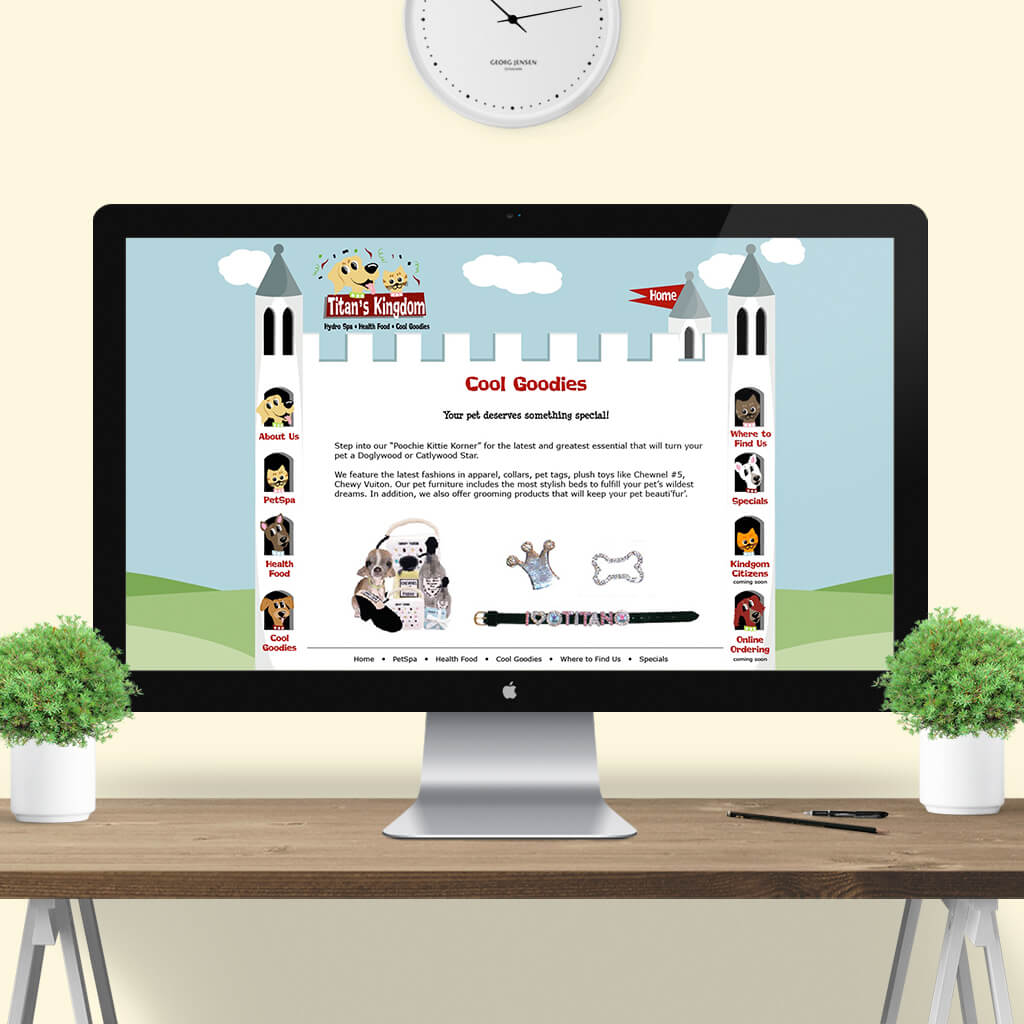 Titans Kingdom Pet Boutique - Pet Business Web Site Design Image 4 by Sniff Design Studio