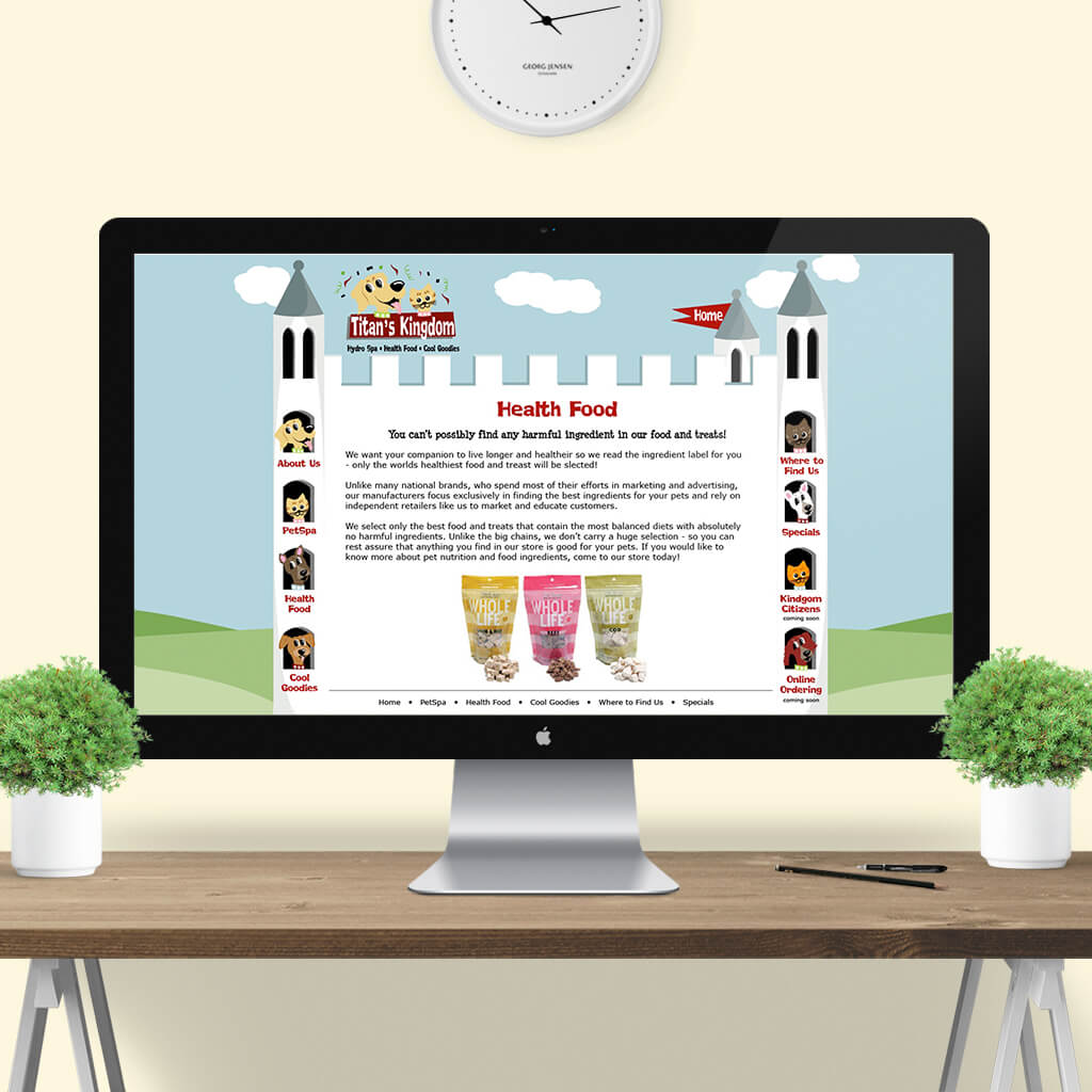 Titans Kingdom Pet Boutique - Pet Business Web Site Design Image 3 by Sniff Design Studio