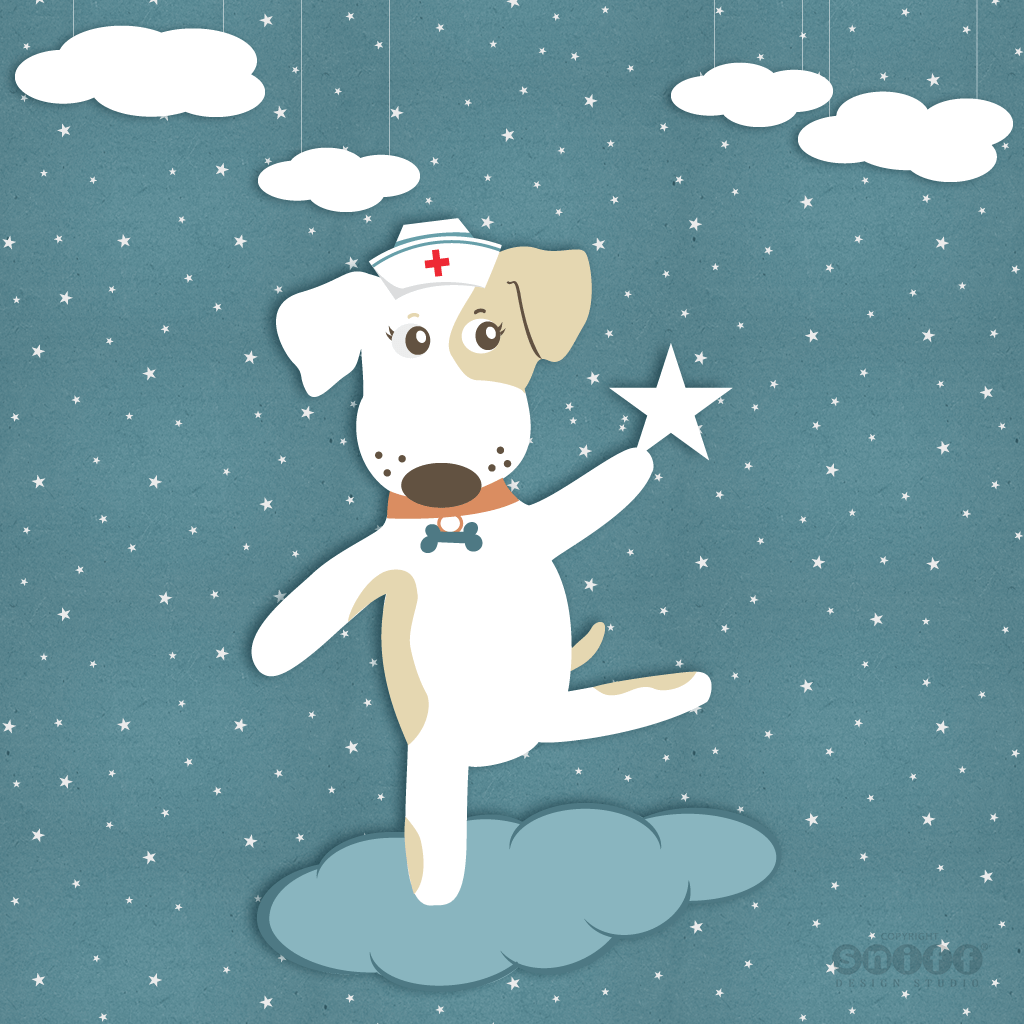 Wags To Wishes Pet Tag Company - Nurse Wags, Mascot Character Design