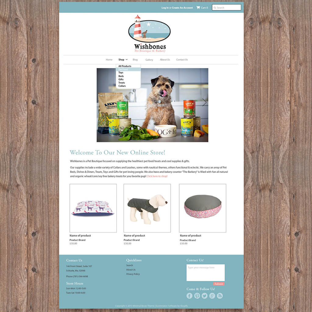 Wishbones Pet Boutique - Pet Business Web Site Mockup