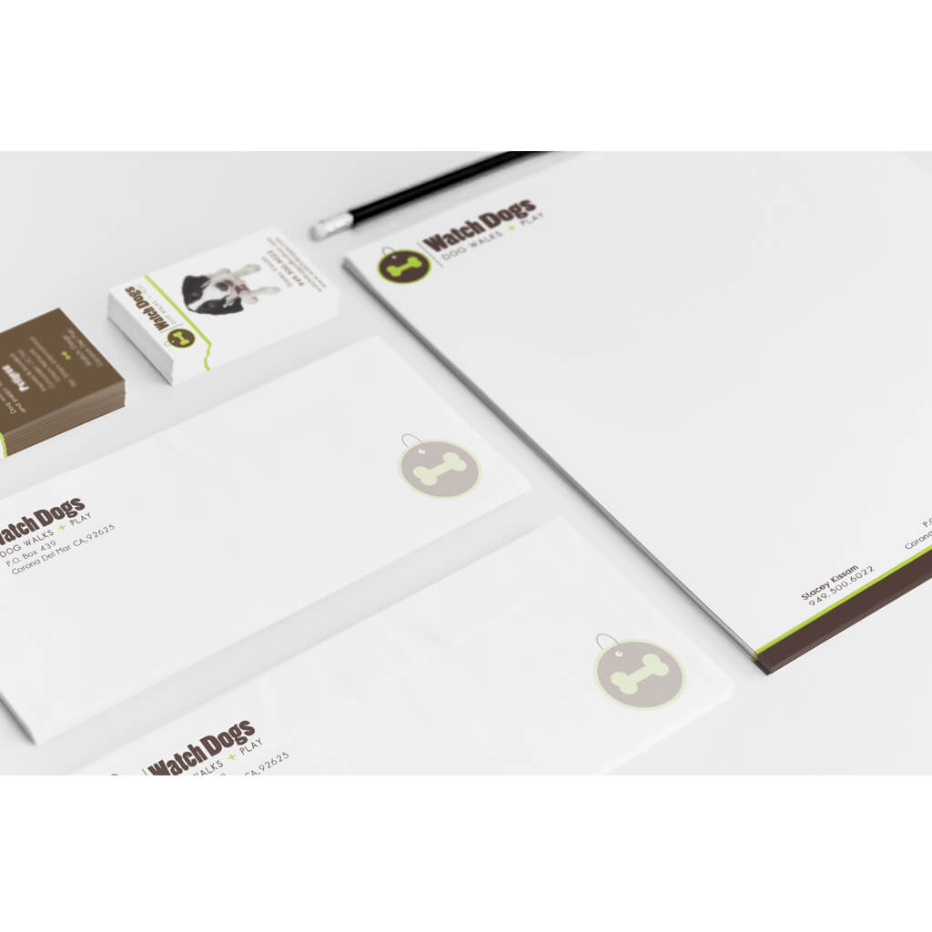 Watch Dogs Dog Walking Co. - Custom Pet Business Stationary Set Design by Sniff Design Studio