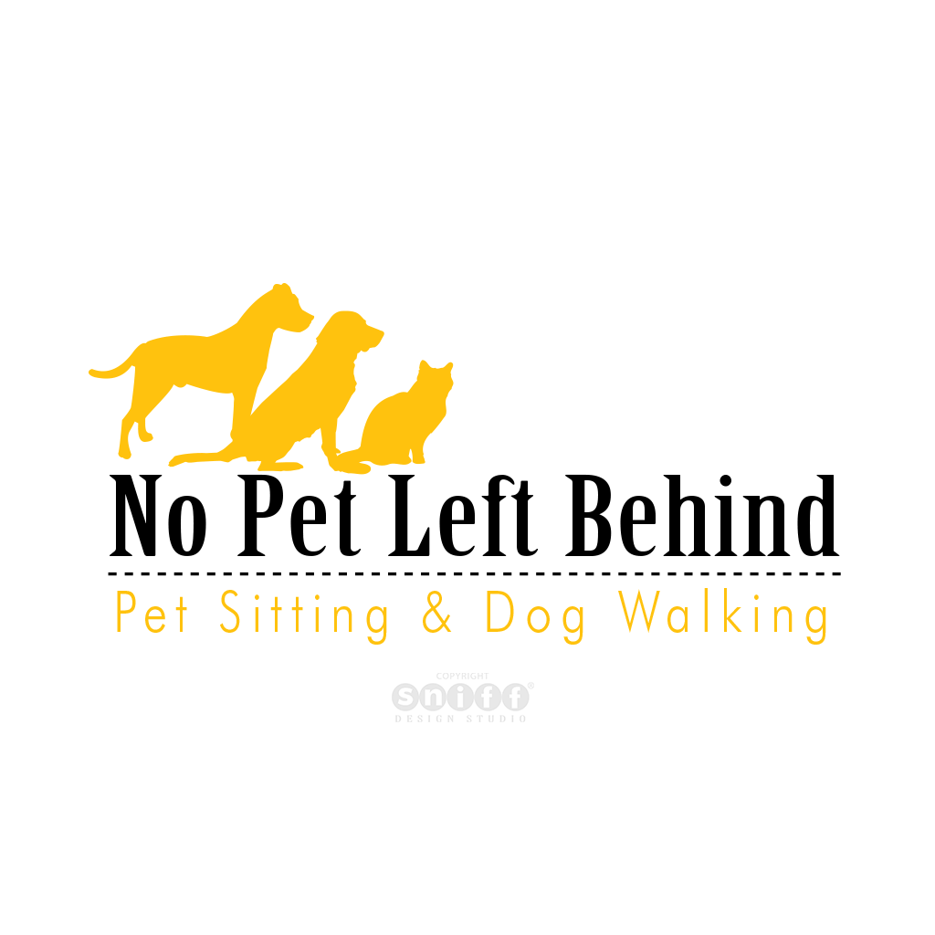 No Pet Left Behind - Pet Sitting Logo Design by Sniff Design Studio