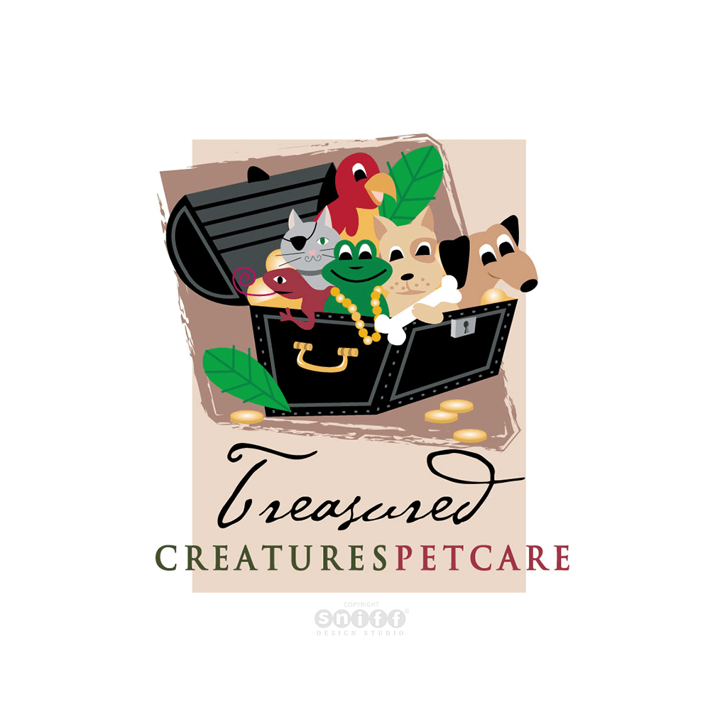 Treasured Creatures Pet Care Pet Business Logo Design by Sniff Design Studio