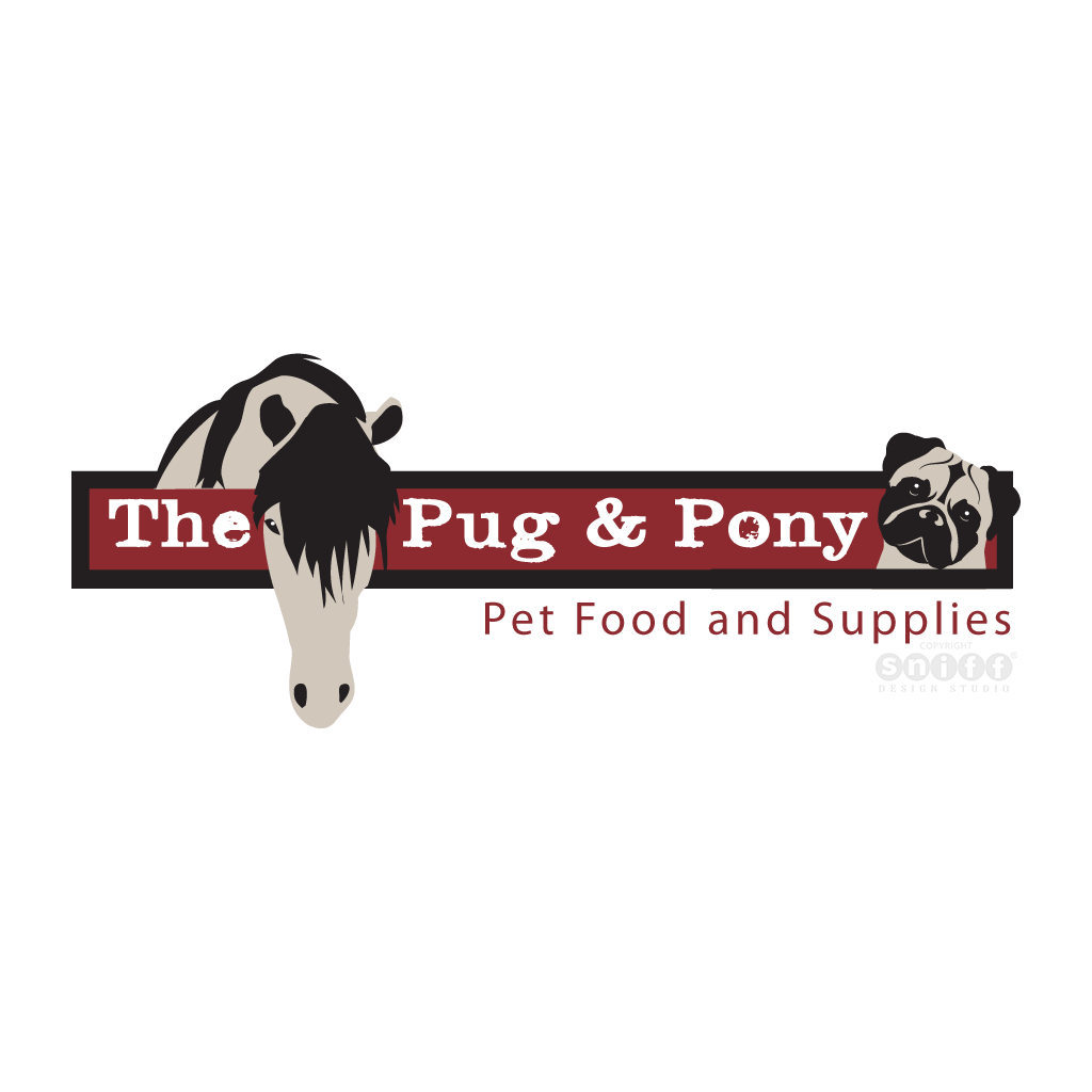 The Pug & Pony Pet Supply Store - Pet Business Logo Design by Sniff Design Studio