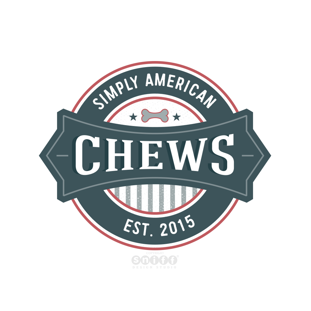 Simply American Chews - Pet Business Logo Design by Sniff Design Studio
