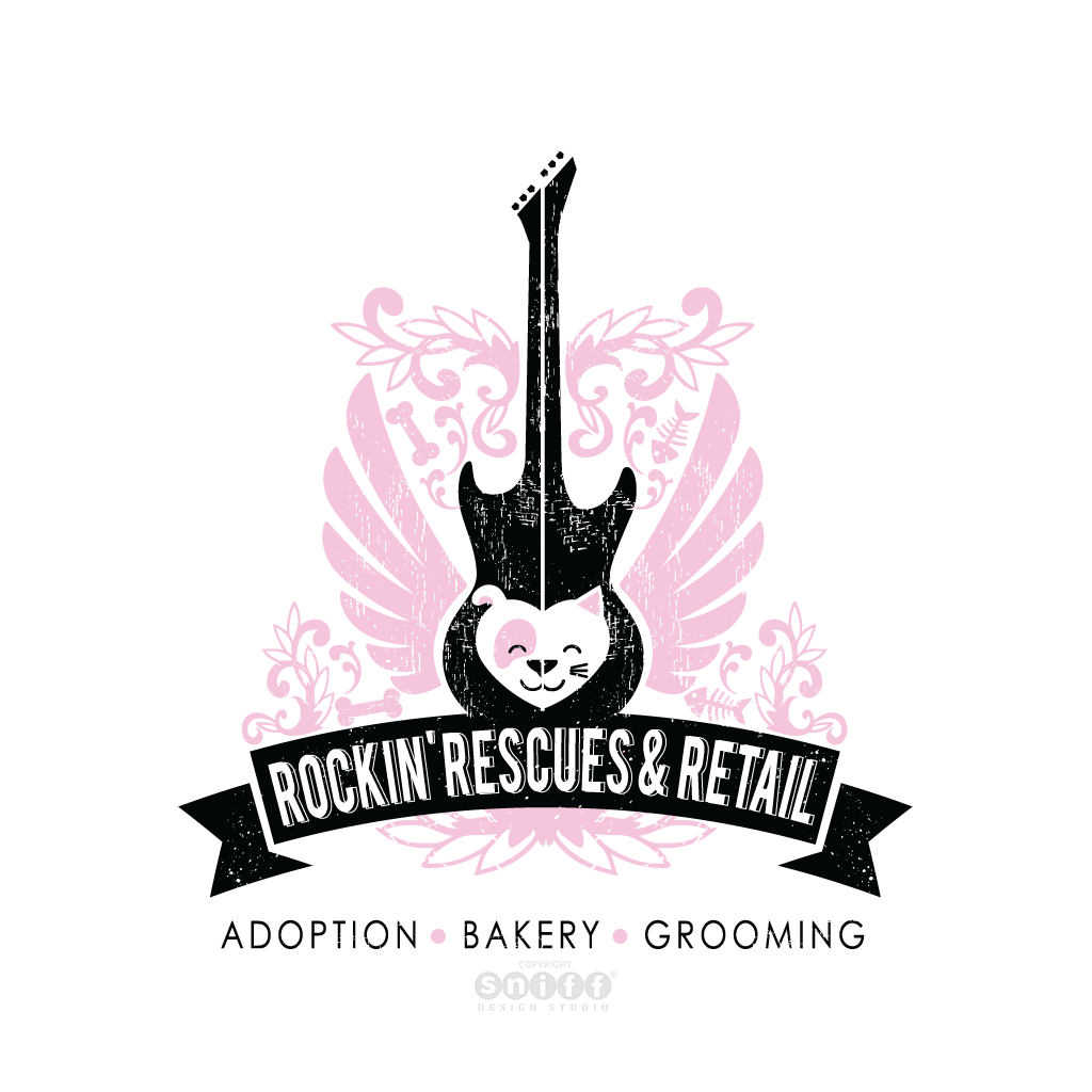 Rockin Rescues Retail & Pet Boutique - Pet Business Logo Design by Sniff Design Studio.