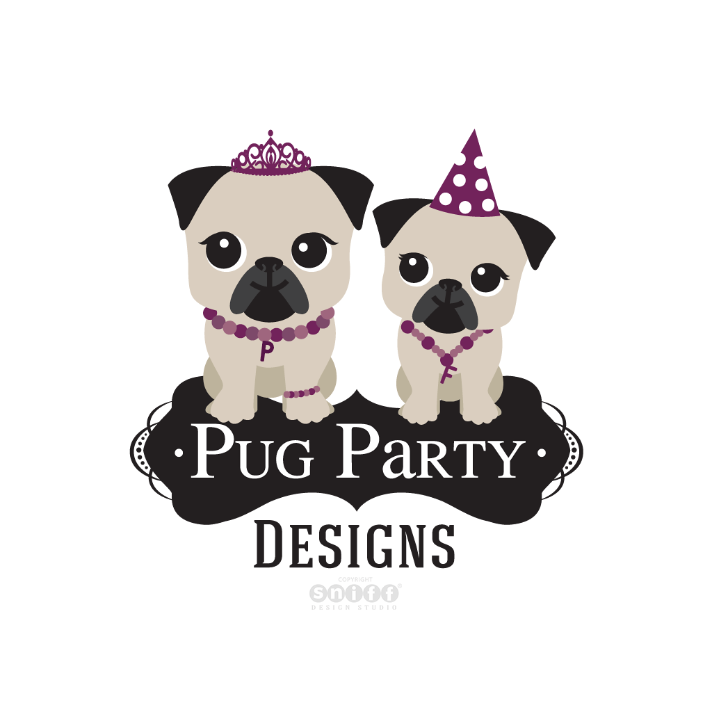 Pug Party Designs - Pet Business Logo Design by Sniff Design Studio.