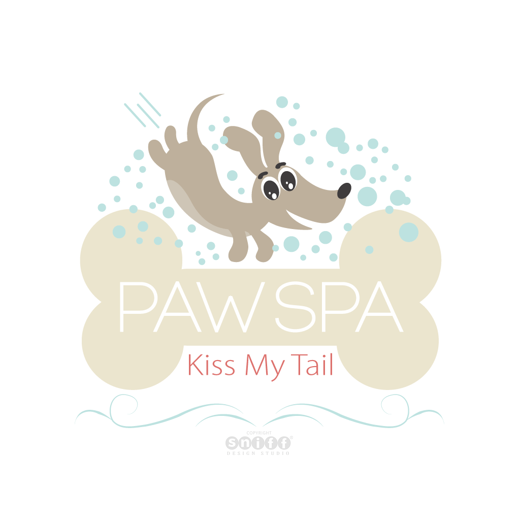 Kiss My Tail Paw Spa & Pet Boutique - Pet Business Logo Design by Sniff Design Studio.
