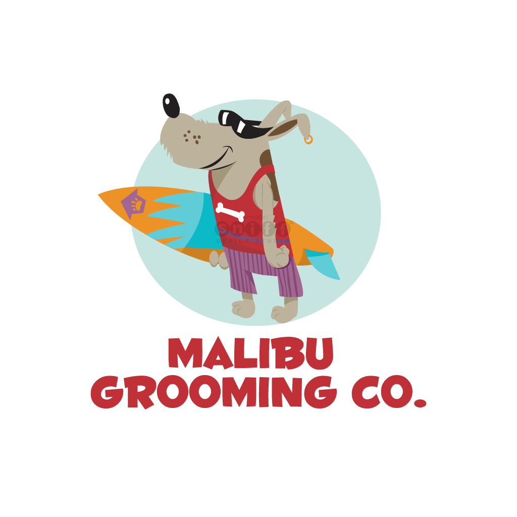 Malibu Dog Grooming - Pet Business Logo Design by Sniff Design Studio
