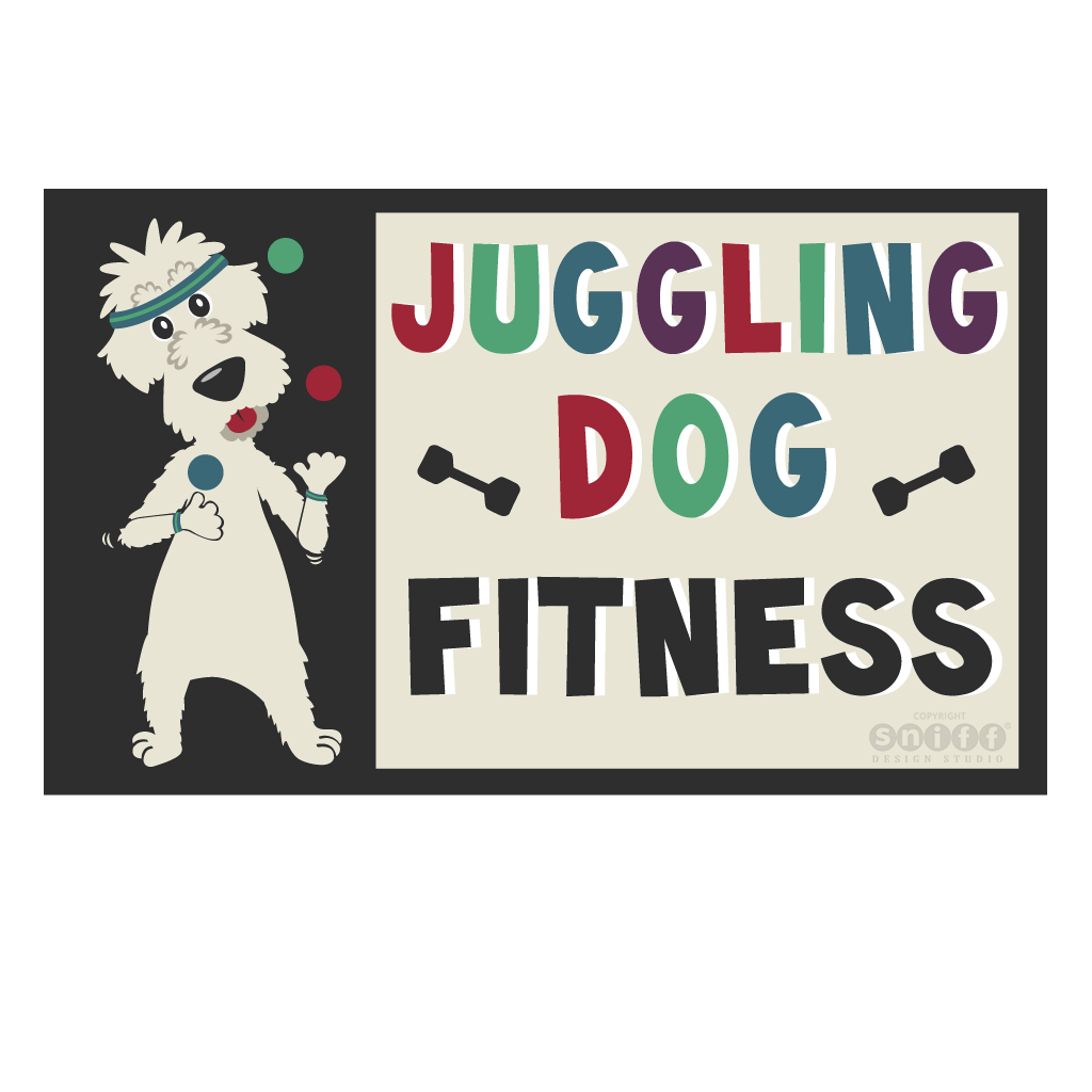 Juggling Dog Fitness - Pet Business Logo Design by Sniff Design Studio.