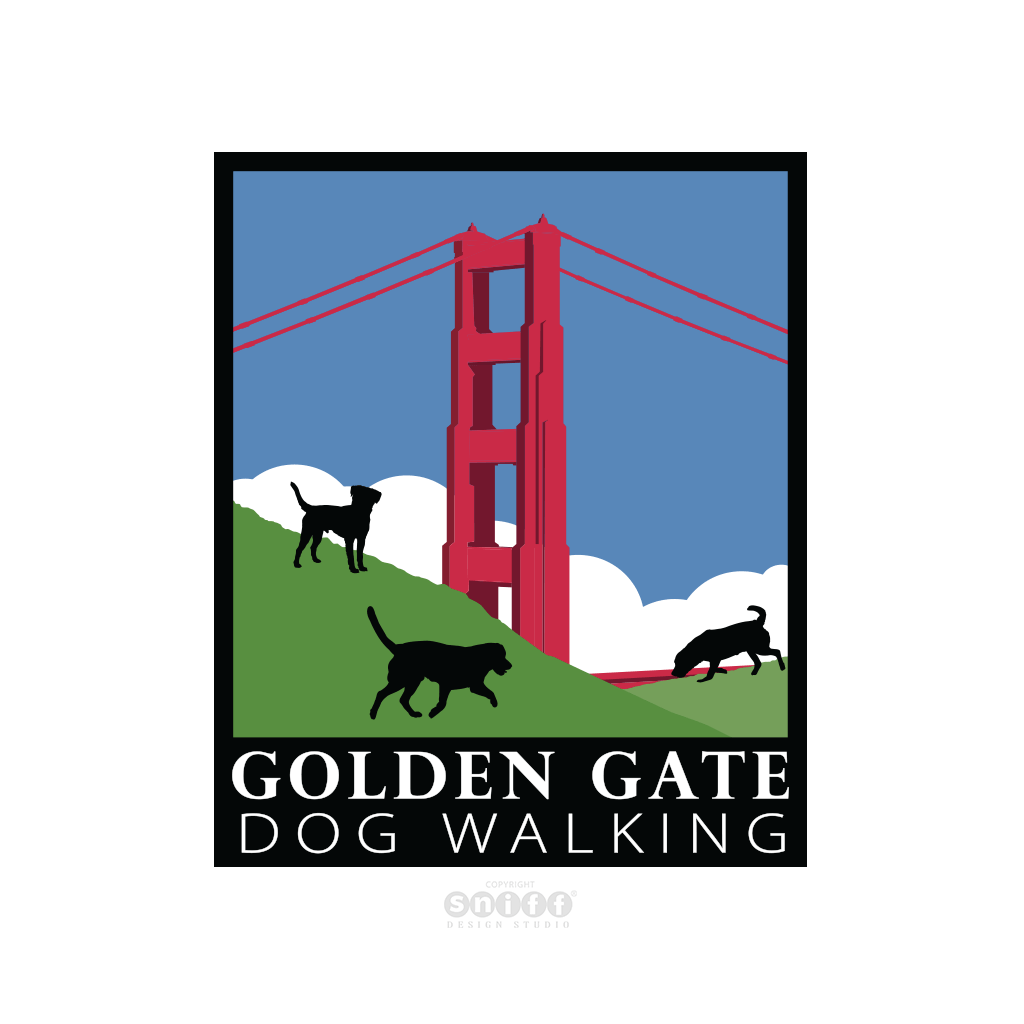 Golden Gate Dog Walking - Pet Business Logo Design by Sniff Design Studio.
