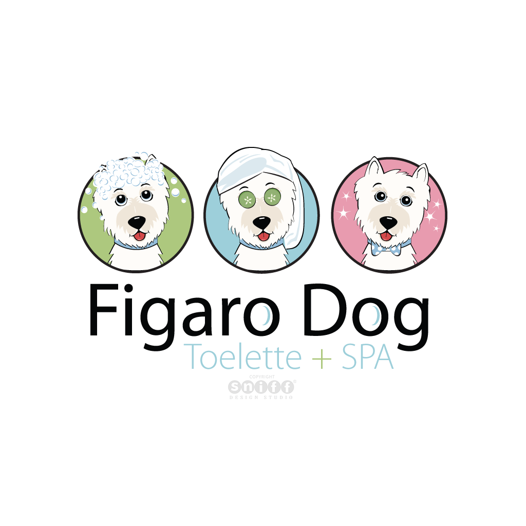 Figaro Dog Grooming & Pet Spa, Italy - Pet Business Logo Design #1 by Sniff Design Studio.