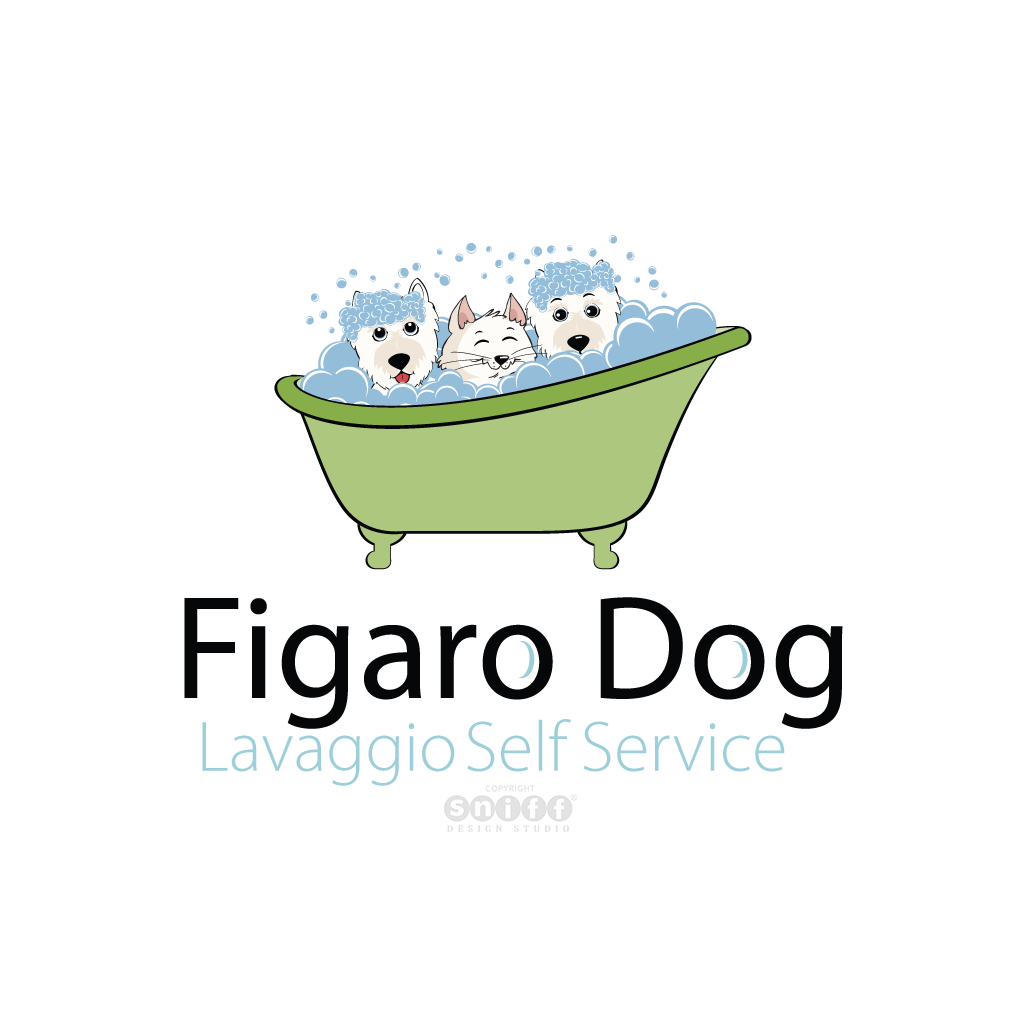 Figaro Dog Grooming & Pet Spa, Italy - Pet Business Logo Design #2 by Sniff Design Studio.