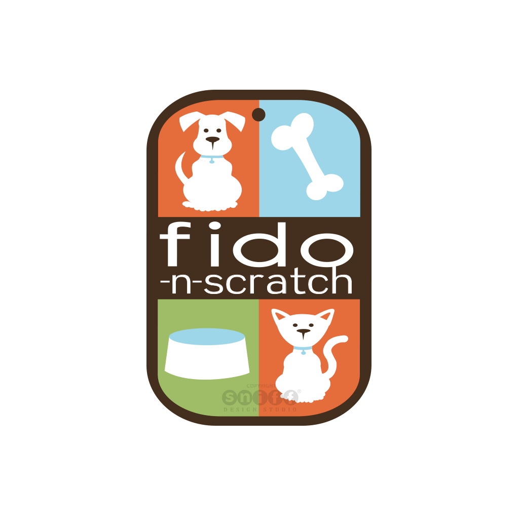 Fido-n-Scratch Pet Boutique - Pet Business Logo Design by Sniff Design Studio.