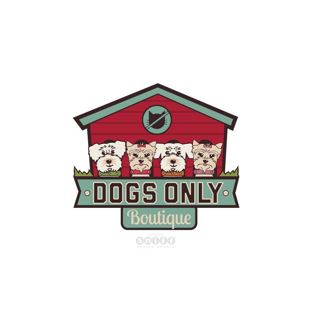 Dogs Only Pet Boutique - Pet Business Logo Design by Sniff Design Studio.