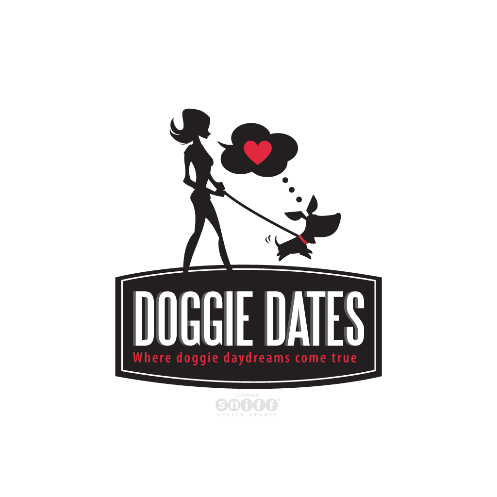 Doggie Dates - Dog Walking Services - Pet Business Logo Design by Sniff Design Studio.