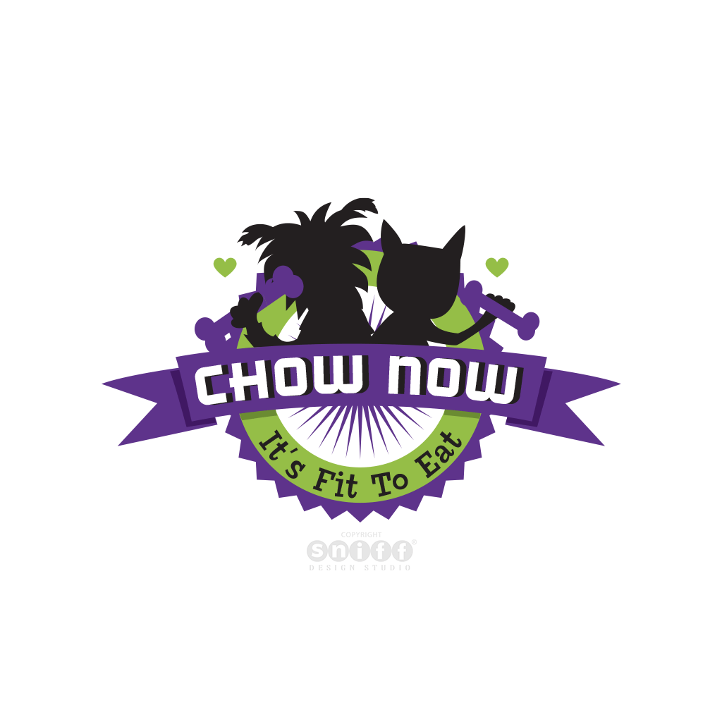 Chow Now Pet Food - Pet Business Logo Design by Sniff Design Studio