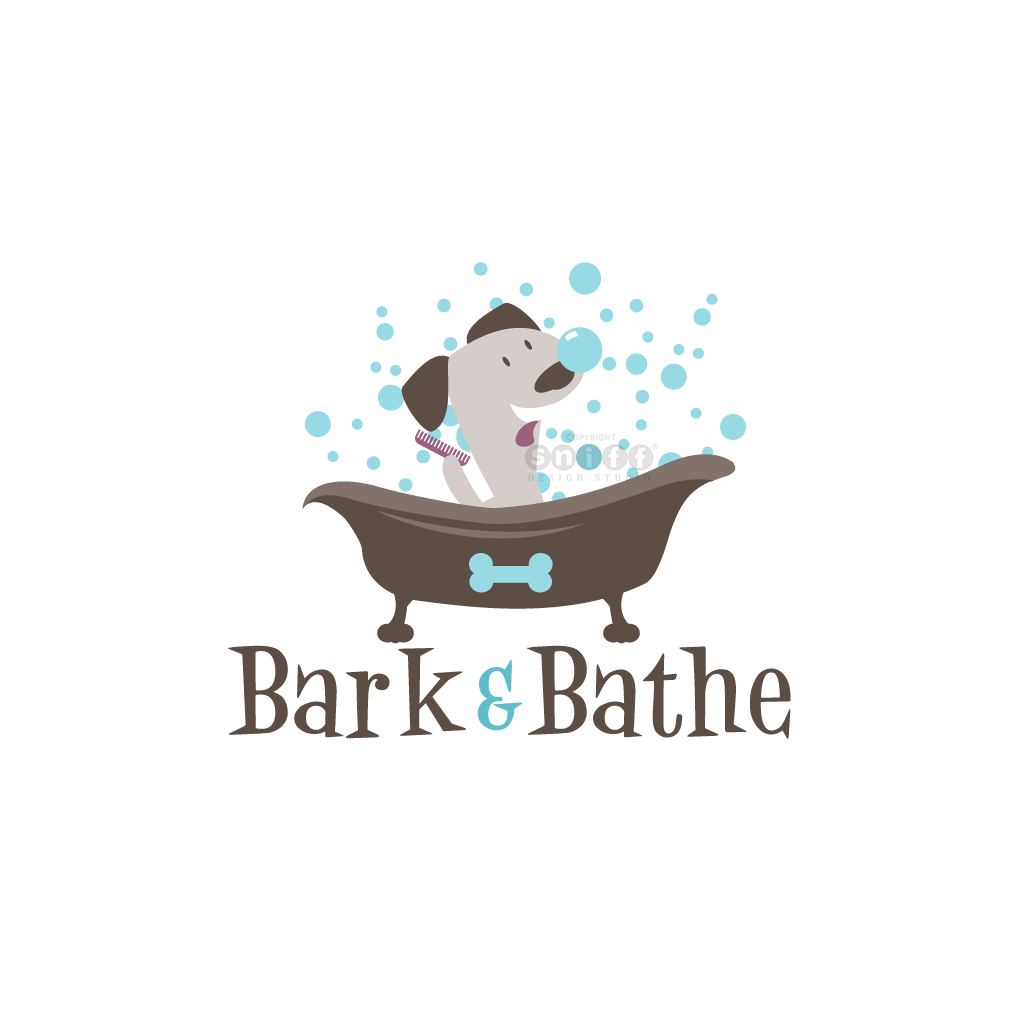 Bark & Bathe - Pet Grooming - Pet Business Logo Design by Sniff Design Studio.