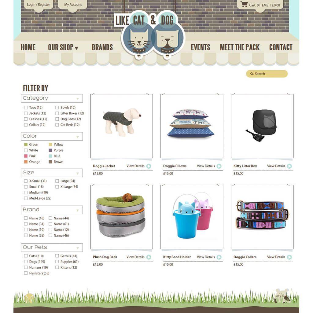 Online Pet Boutique eCommerce Web Site Design & Illustration for Like Cat & Dog - Sample Product Page by Sniff Design Studio