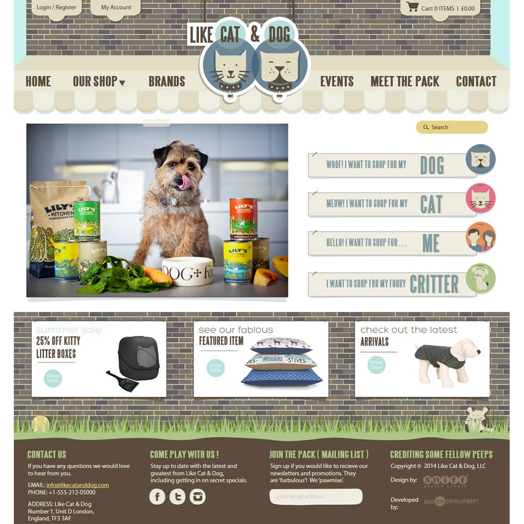Home Page for Online Pet Boutique eCommerce Web Site Design & Illustration for Like Cat & Dog