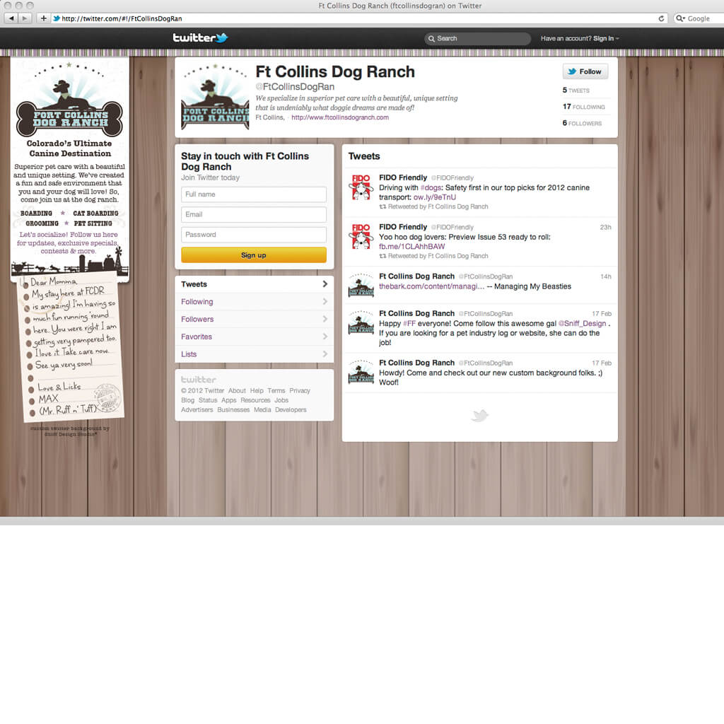Custom Twitter Page Design for Fort Collins Dog Ranch - Pet Business Social Media Design by Sniff Design Studio