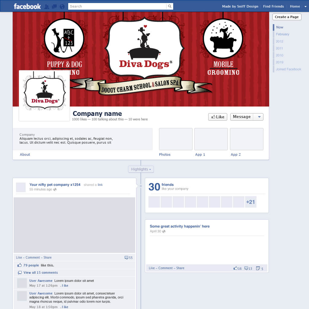 Custom Facebook Page Design for Diva Dogs Pet Grooming - Pet Business Social Media Design by Sniff Design Studio
