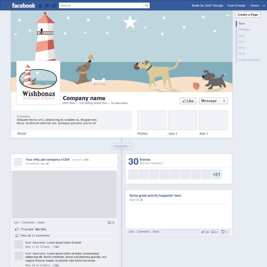 Custom Facebook Page Design for Wishbones Pet Boutique & Bakery - Pet Business Social Media Design