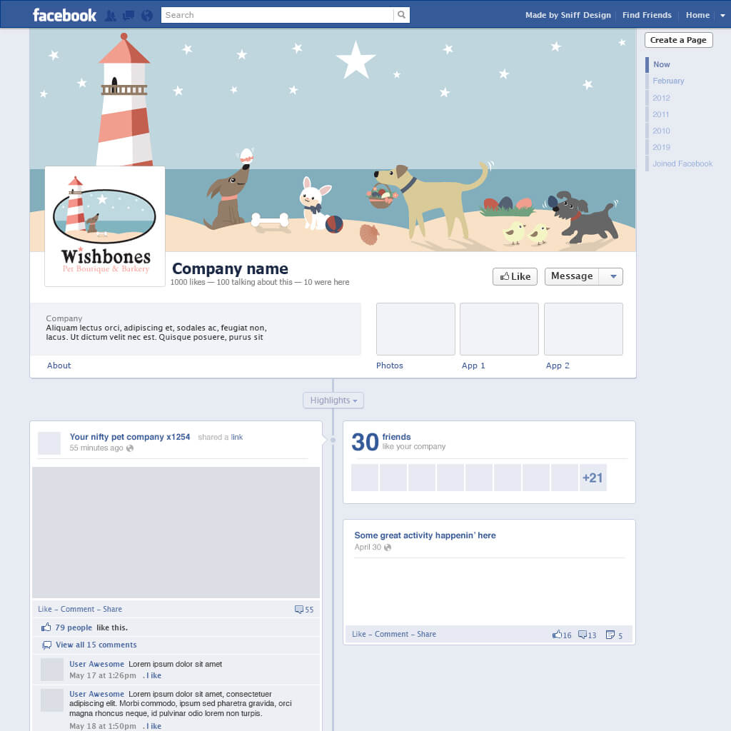 Custom Easter Themed Facebook Page Design for Wishbones Pet Boutique & Bakery - Pet Business Social Media Design