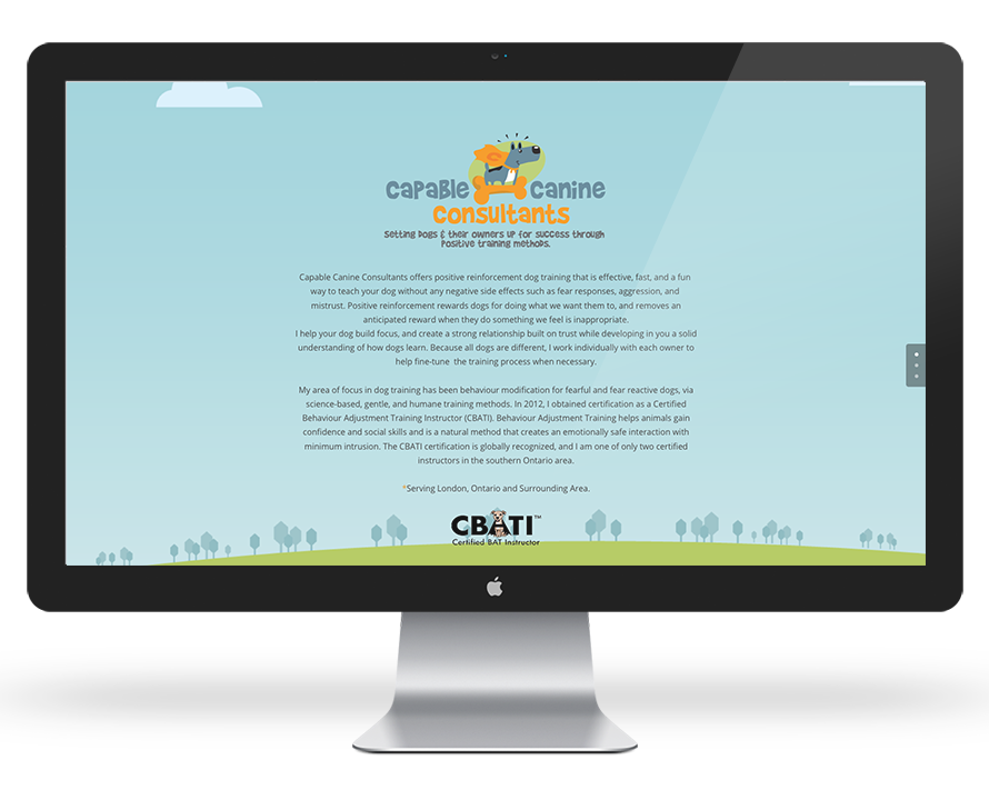 Capable Canine Consultants One Page Pet Business Web Site Design