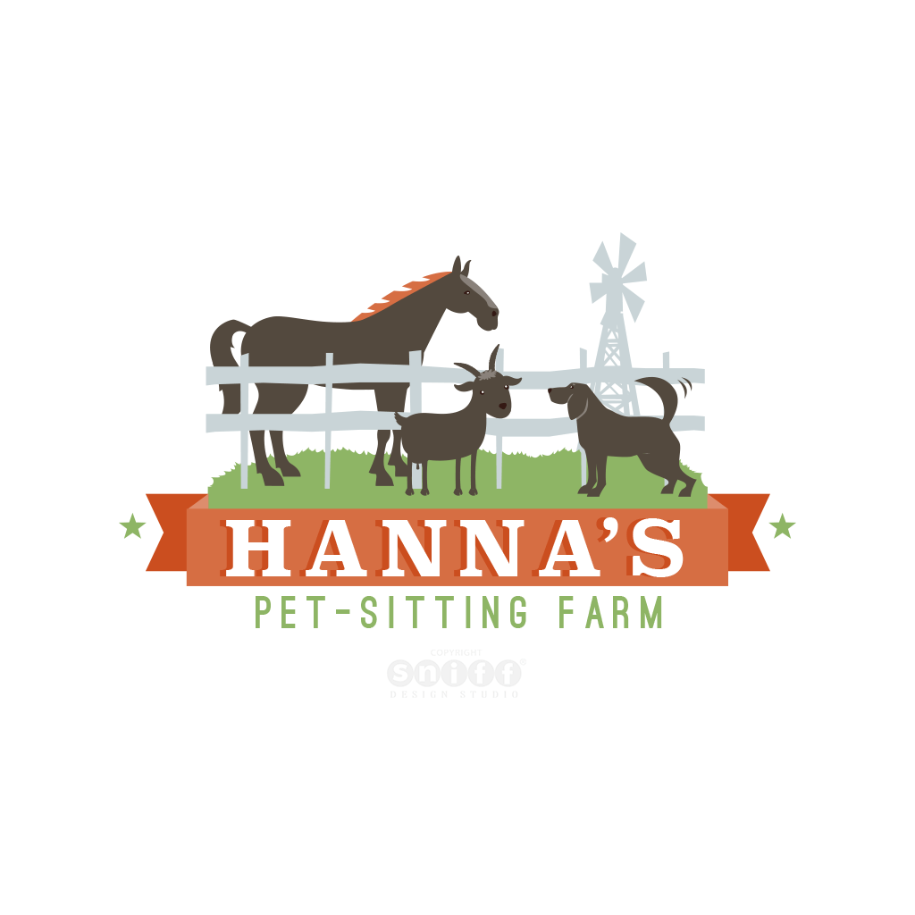 Hanna's Pet Sitting Farm - Pet Business Logo Design
