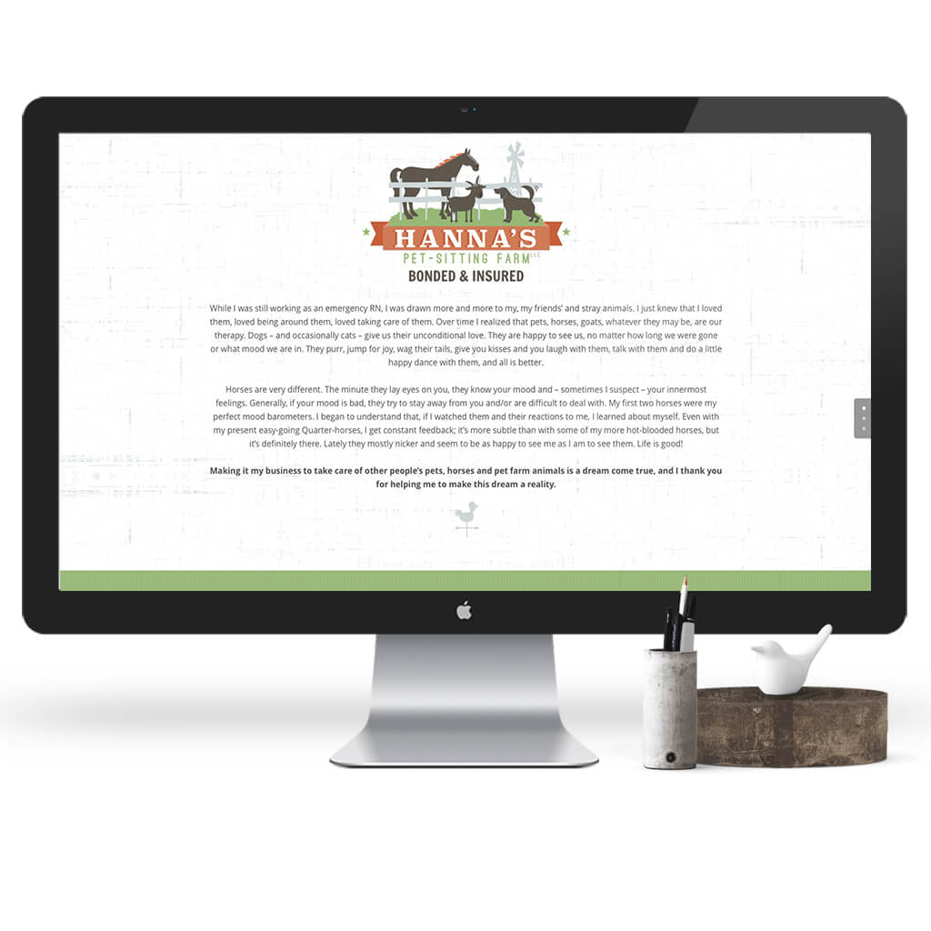 Hanna's Pet Sitting Farm Web Site Design